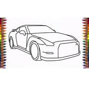 How To Draw Nissan GTR Step By Drawing A Car  YouTube