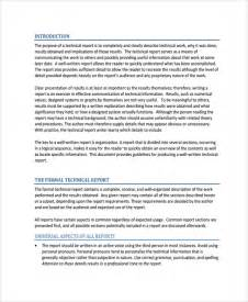 technical report template sle professional report template 8 free documents