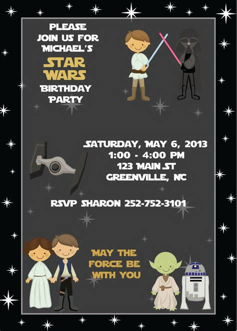 wars birthday card template wars birthday invitation photo ebookzdb