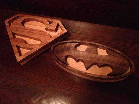 mahogany pine superman logo walnut pine batman logo