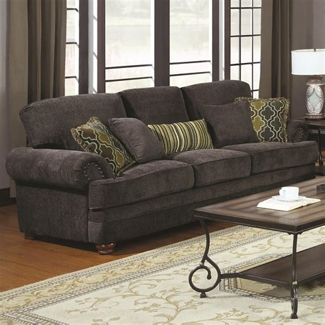 Dining Room Sets In Ct 674 10 Colton Smokey Grey Chenille Sofa With Rolled Arms
