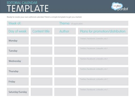 A Quick How To Easy Editorial Calendars Template Salesforce Pardot Content Calendar Template Free