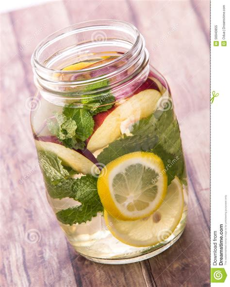 Apple Lemon Mint Detox Water by Fresh Fruit Flavored Infused Water Mix Of Lemon Apple And