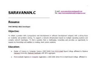 two years experience resume sle saravanan