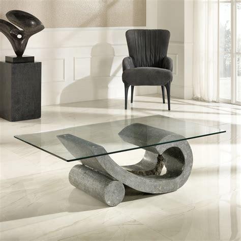 Tables Basses De Salon En Verre by Table Basse De Salon En Verre Et Fossile