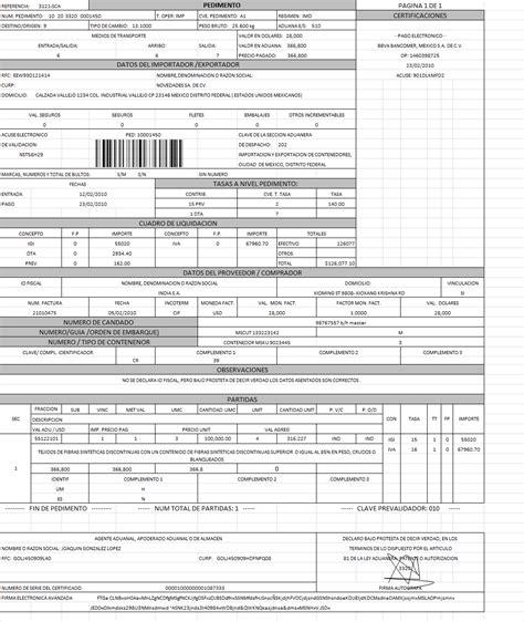 analisis e interpretacion de pedimento de importacion maritza pedimento 1