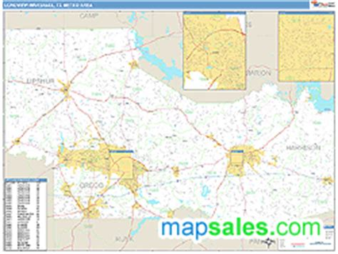 longview texas zip code map longview marshall tx metro area zip code wall map basic style by marketmaps