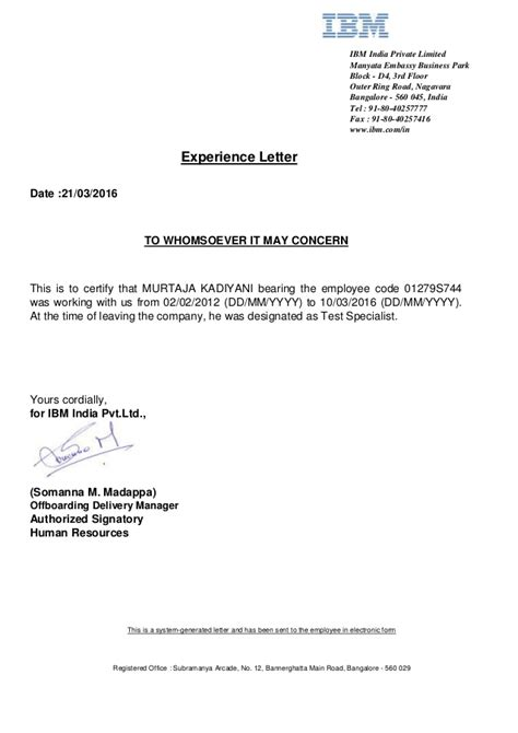 Experience Letter Bangalore Ibm Experience Letter