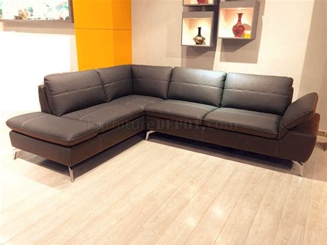Genuine Leather Sectional Sofa by Delta 436019 Sectional Sofa In Brown Genuine Leather By