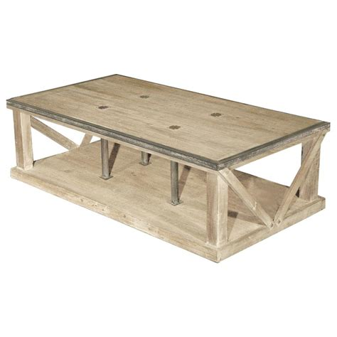 white country coffee table forte country white wash reclaimed pine iron coffee