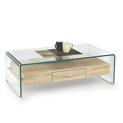 Tables Basses De Salon En Verre by Table De Salon En Verre Et Bois Avec Tiroir