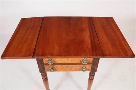country sheraton carved cherry drop leaf table 19th new work stand early 19th c country sheraton two