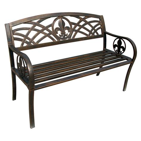 outside metal benches leigh country fleur de lis metal patio bench tx 94104