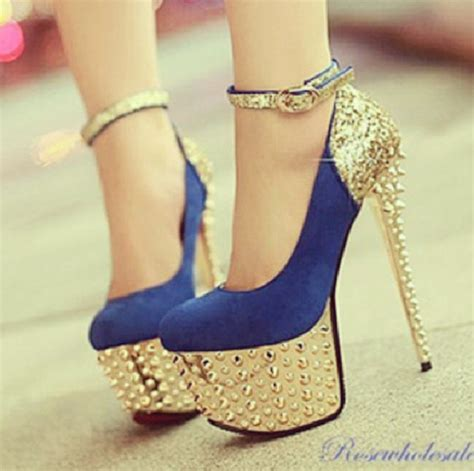 gold and high heels shoes high heels blue and gold sparkle spikes spiked