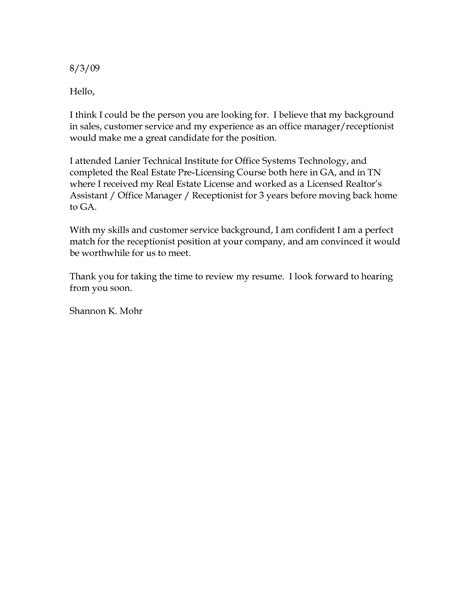 basic cover letter sle template student resume