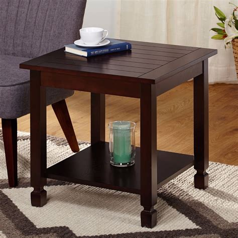 Square Side Tables Living Room by Espresso Finish Square End Table With Lower Shelf Living