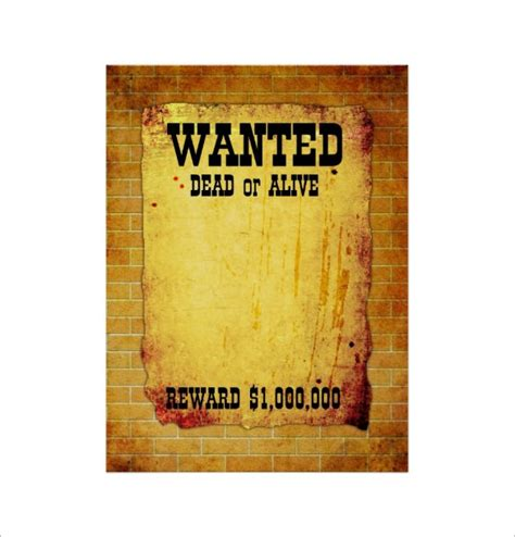 wanted poster template free 15 blank wanted poster templates free printable sle