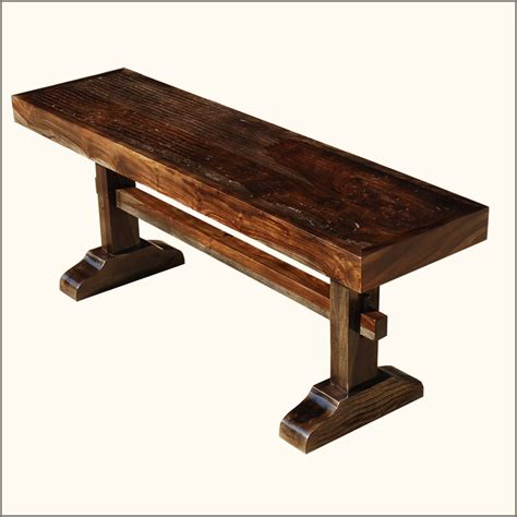 solid wood table and bench amish trestle solid wood rustic wooden backless bench