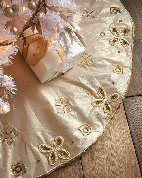 kim seybert bronze gold holiday tree skirt