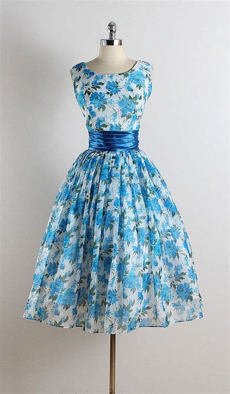 Blue Flower Retro Cheongsam Dress Vintage Import Fashion Wanita Korea vintage 1950s dresses oasis fashion