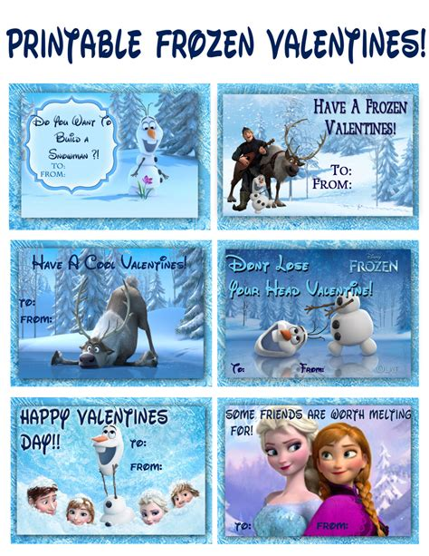 Printable Frozen Valentines | frozen valentines instant download printable by