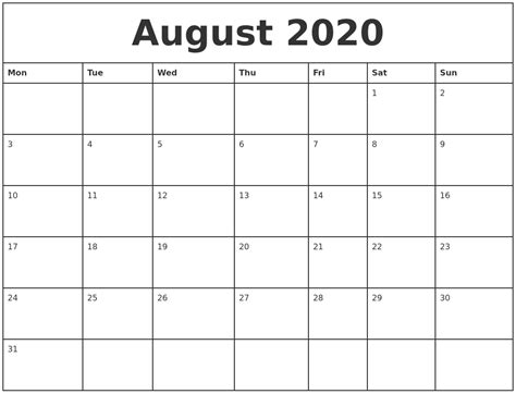 august printable monthly calendar