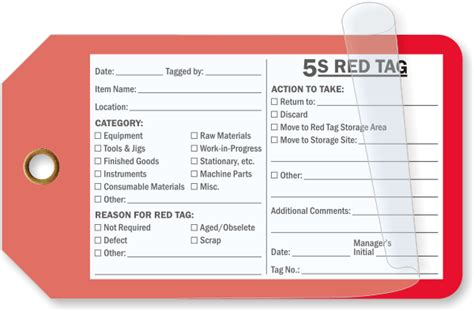 5s Tag Template 5s Red Tags
