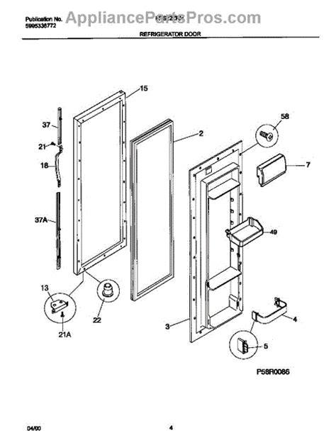 parts for frigidaire frs22zrhw1 refrigerator door parts