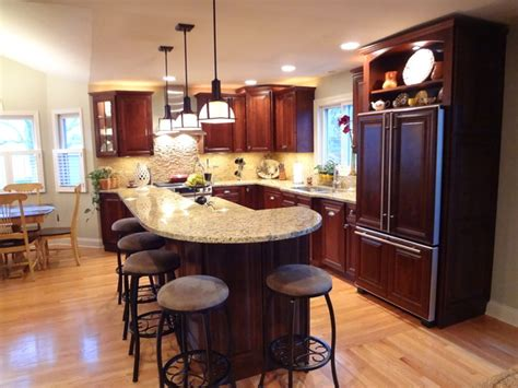 two tier kitchen island designs buffalo grove kitchen with 2 tier island traditional