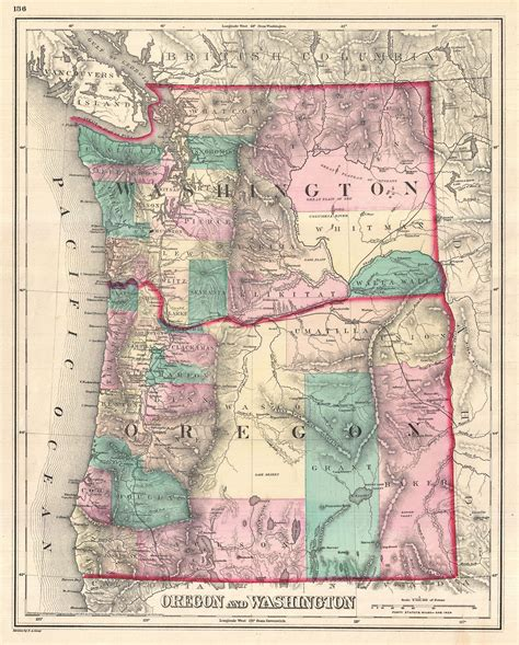 map of oregon washington file 1875 gray map of washington and oregon geographicus