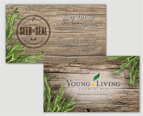 printable young living business cards items similar to rosemary barnwood young living business