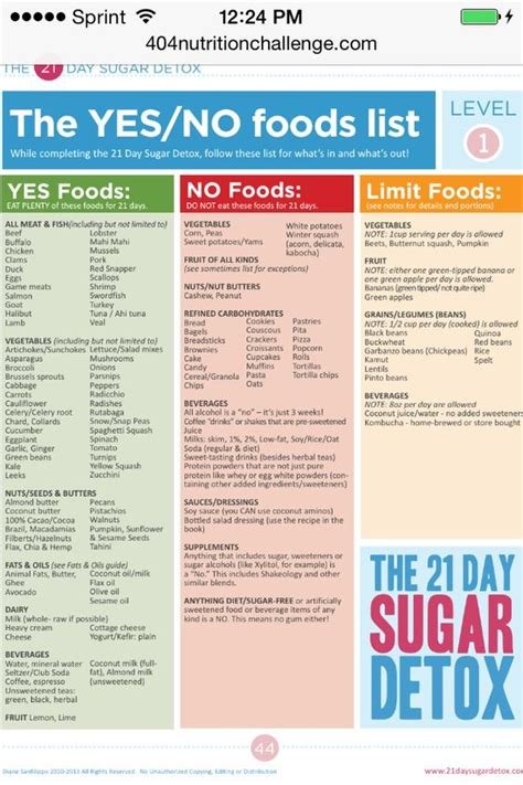Burning Detox Diet Plan by 21 Day Sugar Detox Level 1 Yes No Foods Fitness