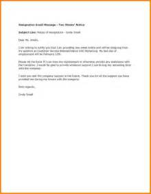 Sle Resignation Letter Notice by 5 Exle Of Two Weeks Notice Letter Weekly Agenda Planner