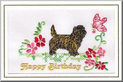 Embroidered Birthday Card Cairn Terrier Birthday Card Embroidered By Dogmania 8 X