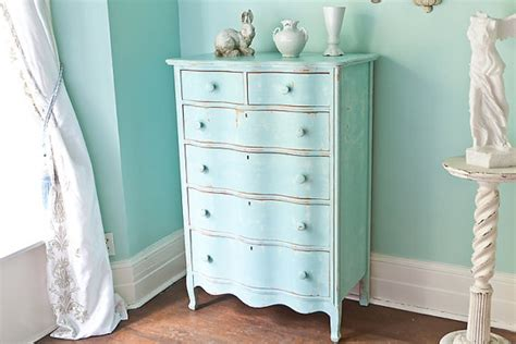 antique dresser aqua blue shabby chic beach cottage