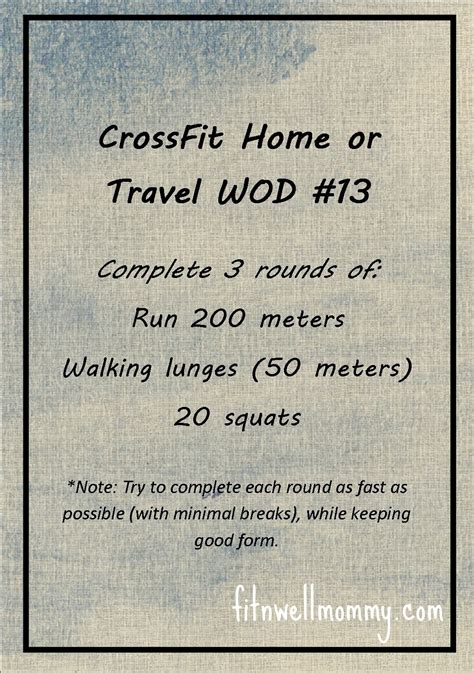 crossfit home or travel wod 13 deliciously fit