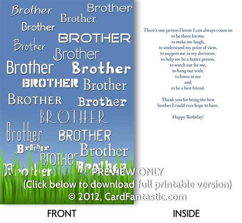 Free Printable Birthday Cards Brother | birthday cards printable greeting cards and e cards
