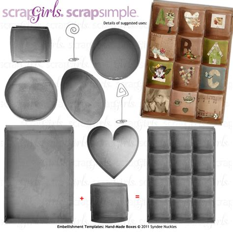 Handmade Boxes Templates - scrapsimple embellishment templates handmade boxes