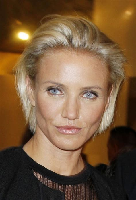 blonde hairstyles over 40 cameron diaz simple combed back bob hairstyle hairstyles