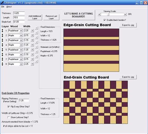cutting board designer cutting board design software cbdesigner by jayman7