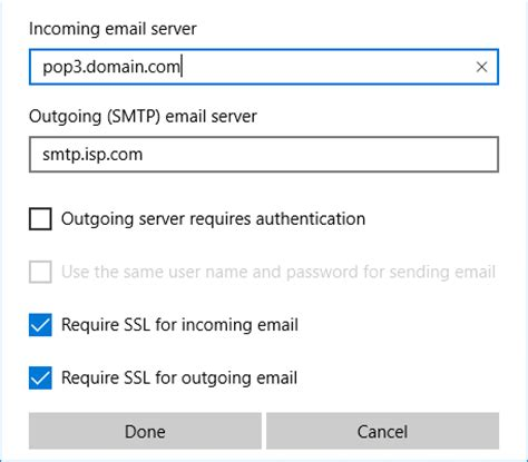 mail server port windows 10 mail app outgoing smtp server