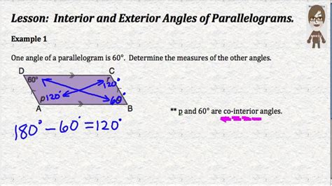 Interior Angles Of A Parallelogram by Interior And Exterior Angles Of Parallelograms
