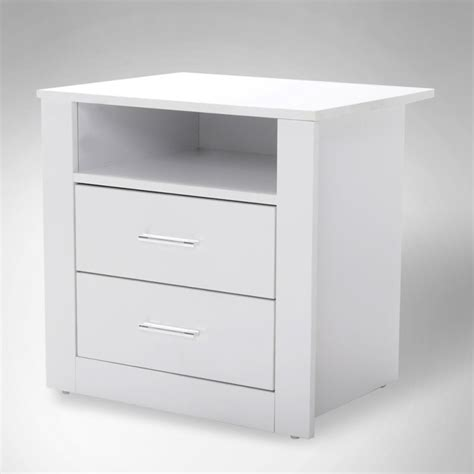 White Bedside Bondi 2 Drawers Bedside Table In White Buy Furniture