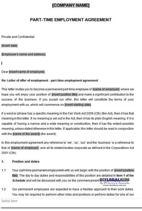 time employment contract template part time employment contracts template