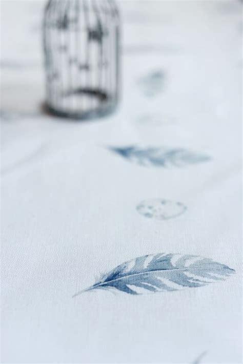 Linen Ruby Bulu Feather 1 feather egg bamburgh blue on ivory linen peony