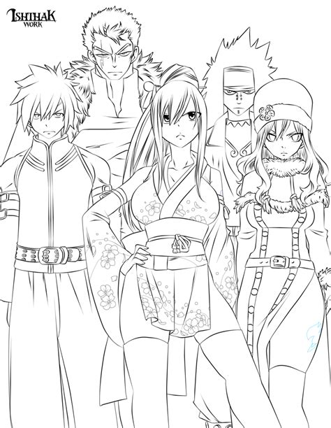coloring pages fairy tale characters fairy tail team lineart by ishthak on deviantart
