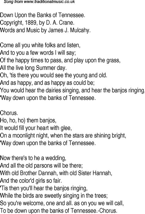 banks lyrics time song lyrics for 23 upon the banks of tennessee