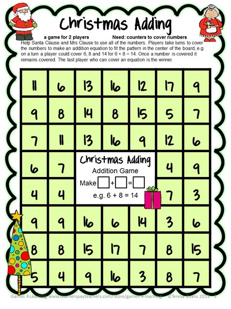 printable board games christmas fun games 4 learning christmas math freebies