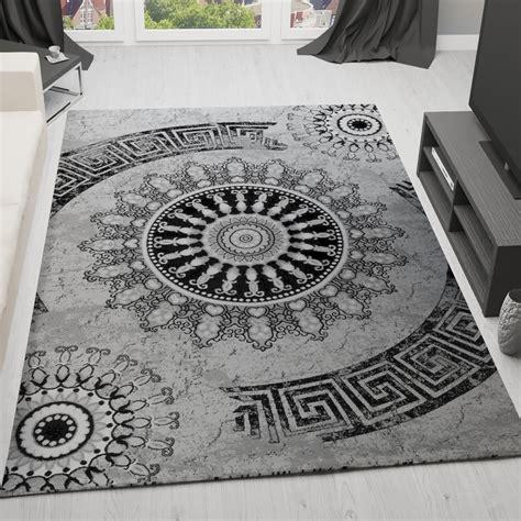 teppich grau klassischer wohnzimmer teppich meliert ornament muster in
