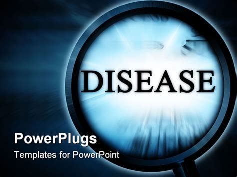 Disease On A Blue Background With A Magnifier Powerpoint Template Background Of Ads Alert Disease Powerpoint Template